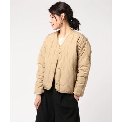 ジャケット ノーカラージャケット ☆ 高密度タフタ×ボアキルティングリバーシブルジャケット