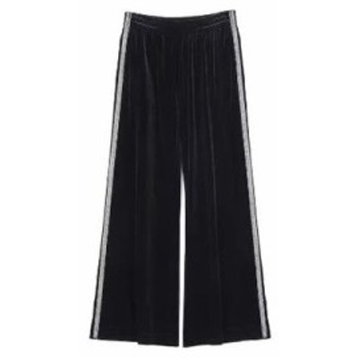 ボトムス パンツ 女性 レディース コーデュロイ ブラック 黒 サイドライン ゆったり ワイドパンツ レトロ かっこいい