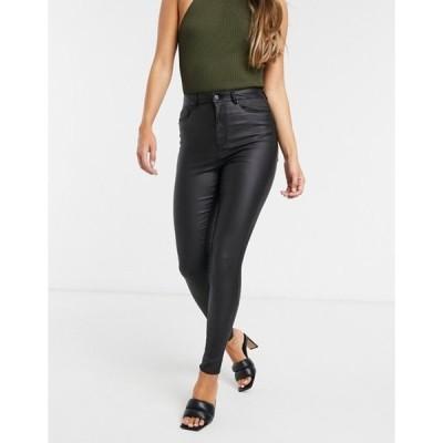 ヴェロモーダ レディース デニムパンツ ボトムス Vero Moda coated skinny jeans with high rise in black