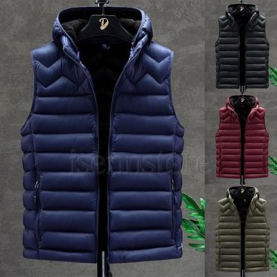 ベスト ダウンベスト 中綿ベスト メンズ 秋冬 フード付き 中綿 キルティング 袖なし ジャケット 無地 カジュアル トップス 軽量 アウター 防寒ベスト 4色