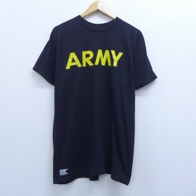 L/古着 半袖 Tシャツ ミリタリー アーミー ARMY クルーネック 黒 ブラック 20jul01 中古 メンズ