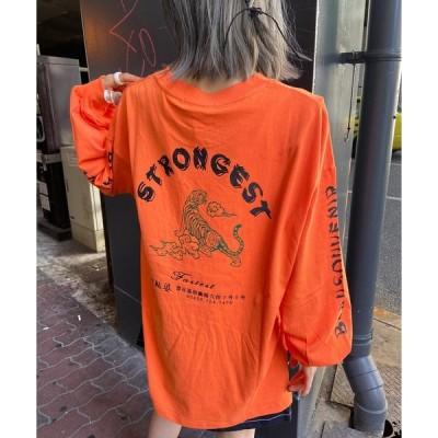 tシャツ Tシャツ 袖ロゴ&タイガープリントロンT / イラストデザイン  / バックプリント / 袖プリント