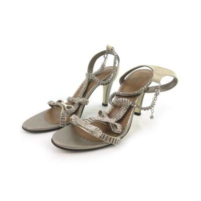 【中古】ダイアグラム グレースコンチネンタル Diagram GRACE CONTINENTAL サンダル ミュール ストラップ ビジュー 装飾 リボン ゴールド 38 約24cm 靴