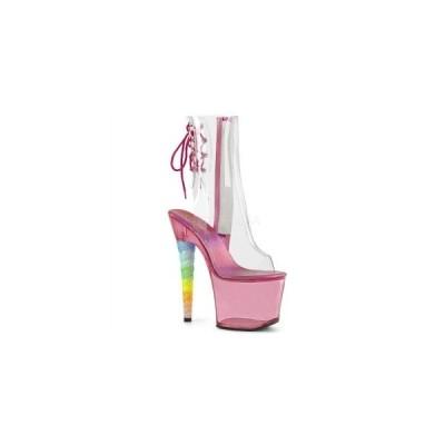 ブーツ ショートブーツ 7インチ 約17.8cm 台 PLEASER Clr/Bubble Gum Pink Tinted ユニコーンヒール ブーツサンダル クリア/バブルガムピンク お取り寄せ商品
