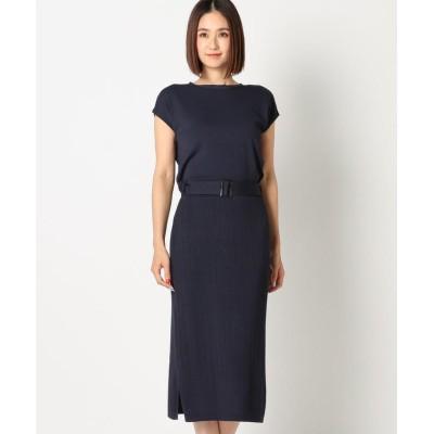 【ミューズ リファインド クローズ】 2WAYトップス×スカートニットセットアップ レディース ネイビー M MEW'S REFINED CLOTHES