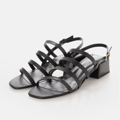 ストラッピージオメトリック スリングバックサンダル / Strappy Geometric Slingback Sandals (Black