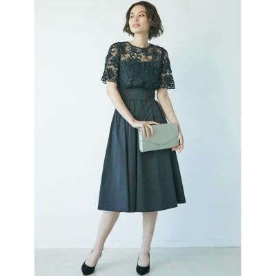 【ラグナムーン】 LADYオーバーレースギャザードレス ? レディース ブラック S LAGUNAMOON