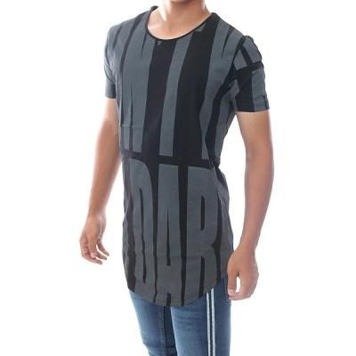 Tシャツ メンズ 半袖 ロング丈 全面プリント 黒グレー S~XL 大きいサイズも入荷 メール便 対応商品
