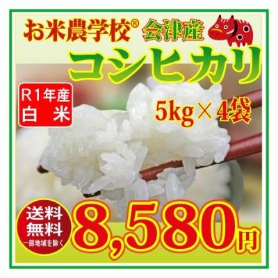 新米 お米5kg×4袋 令和2年福島県会津産コシヒカリ  精米20kg 送料無 コメ 白米 20キロ