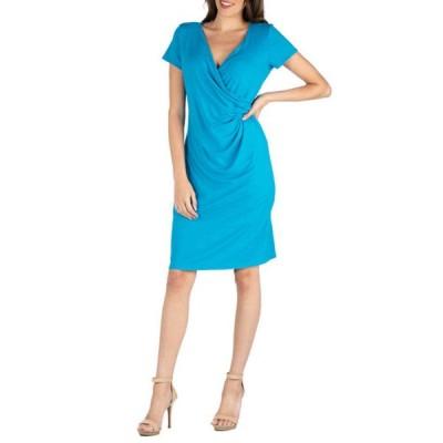 24セブンコンフォート レディース ワンピース トップス Women's Cap Sleeve Faux Wrap Dress