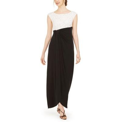 コネクテッド Connected レディース パーティードレス ワンピース・ドレス Sequined Lace Column Gown Ivory/Black