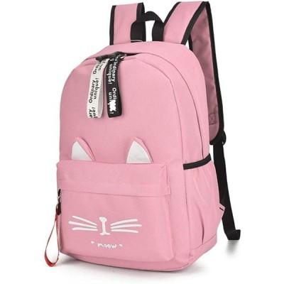 [FUPUTWO] リュック 猫 リュックサック かわいい ねこ耳 バッグ キャンバス 軽量 通学 レディース ショルダーバッグ (ピンク)