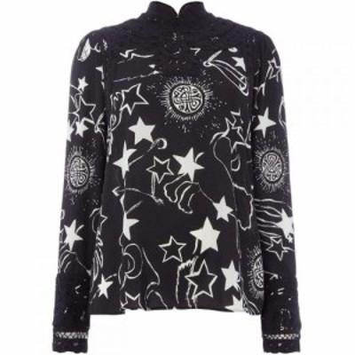 ビバ Biba レディース ブラウス・シャツ トップス Mono constellation print battenberg blouse Black/White