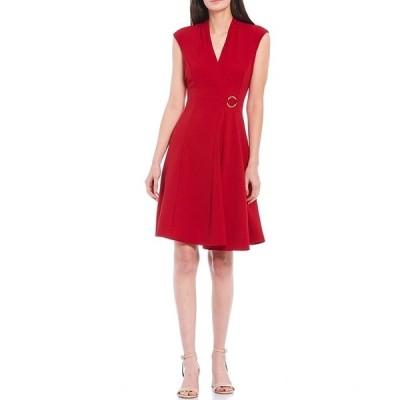 ロンドンタイムス レディース ワンピース トップス V-Neck Cap Sleeve Gold Ring Detail Crepe A-Line Dress Scarlet