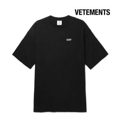 Vetements ヴェトモン 2017-2018年秋冬新作 Staff Printed Cotton-Jersey T-Shirt Black メンズ Tシャツ 半袖 トップス