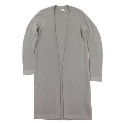 エルメス 13AW ロングニットカーディガン 羽織り レディース グレー 34 美品 アルパカ コート HERMES【F3-17193】