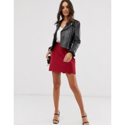 エイソス レディース スカート ボトムス ASOS DESIGN a-line mini skirt with scallop hem in oxblood Oxblood