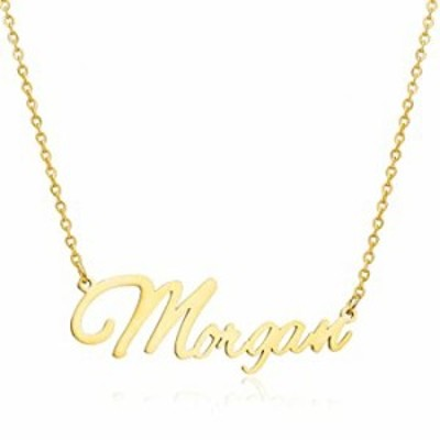 Moronly Personalized Name Necklace for Women 316 Stainless Steel Nameplate Pendant Necklace Hypoallergenic Jewelry(Morgan-G)