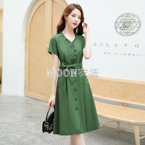 夏季短袖洋裝年流行女裝法國小眾大碼氣質收腰顯瘦薄款裙子 快速出貨