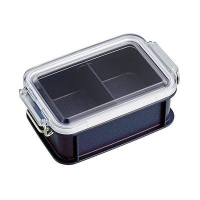 オーエスケー お弁当箱 シルバーモード コンテナランチボックス(仕切付) 450ml CNT-450 (ネイビー 450ml)