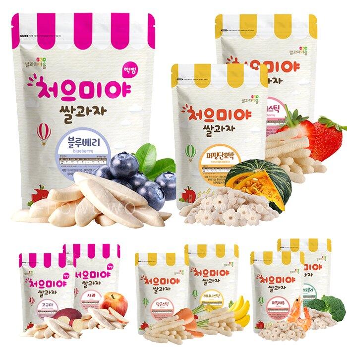 韓國 米餅村 寶寶米餅 糙米棒 糙米圈圈 水果餅 米菓 米棒 泡芙 副食品 嬰兒餅乾 SSALGWAJA 米餅 0088