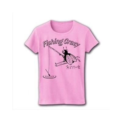 釣りキチ -魚釣りの虫- リブクルーネックTシャツ(ライトピンク)