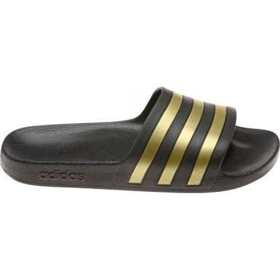 アディダス adidas レディース サンダル・ミュール シューズ・靴 Adilette Aqua Slides Black/Metallic Gold