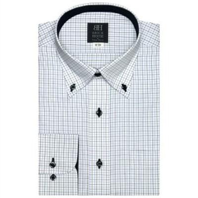 ブリックハウス(BRICKHOUSE)/形態安定 ノーアイロン 長袖ワイシャツ ボタンダウン 白×ブルーチェック 標準体