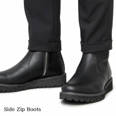 ブーツ メンズ サイドジップブーツ ドレスブーツ メンズブーツ ブラック
