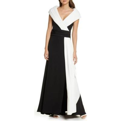 タダシショージ TADASHI SHOJI レディース パーティードレス ワンピース・ドレス Portrait Collar Crepe Gown Black/Ivory
