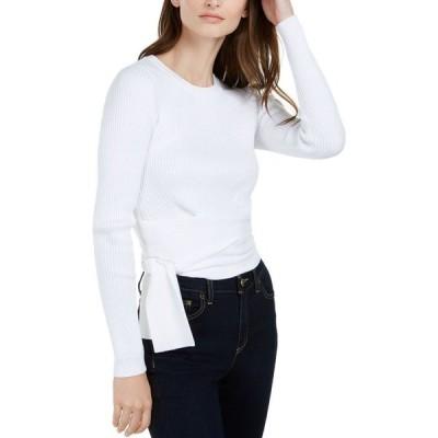 マイケル コース Michael Kors レディース ニット・セーター トップス Ribbed Tie-Waist Sweater White