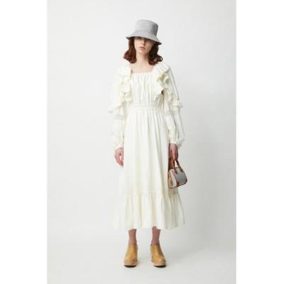 【マウジー】 SQUARE NECK RUFFLED ドレス レディース ホワイト 1 MOUSSY