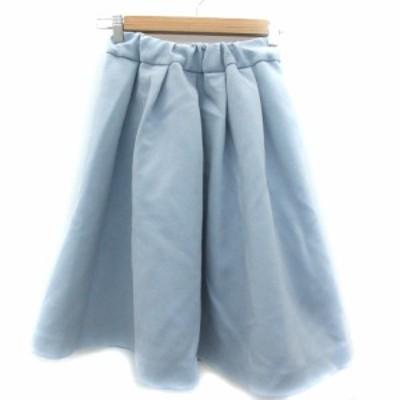 【中古】サクラ SACRA スカート フレア ミモレ丈 無地 36 ライトブルー 水色 /SM7 レディース