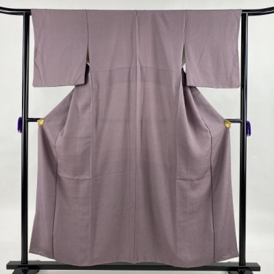 江戸小紋 美品 秀品 落款あり 堅牢草木染 鮫 紫 袷 身丈156cm 裄丈62.5cm S 正絹 中古