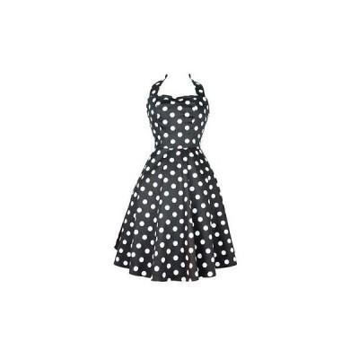 ドレス レディース 海外セレクション Women's Hemet Black White Polka Dots Full Circle Skirt Pinup Dress Rockabilly