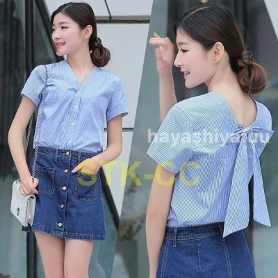 韓国ファッションバックリボンシャツレディース半袖ブラウストップスストライプ柄Vネックシフォンカジュアルシンプル着痩せ大人おしゃれ