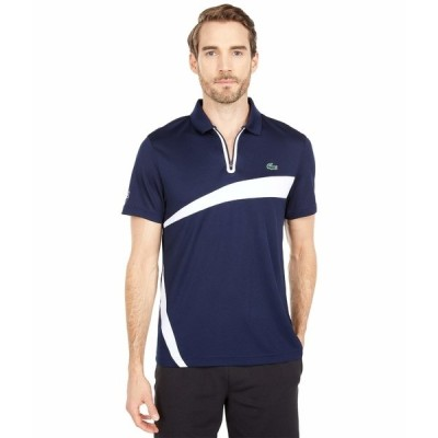 ラコステ シャツ トップス メンズ Short Sleeve Zipper Placket Color-Block Polo Navy Blue/White