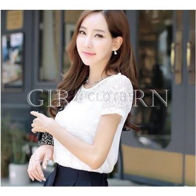レディースTシャツレース半袖カットソー透け感透け素材トップスホワイト白SMLXL2XL3XL大きいサイズ