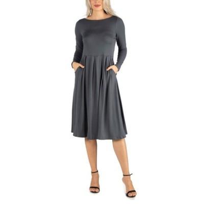 24セブンコンフォート レディース ワンピース トップス Women's Midi Length Fit and Flare Pocket Dress