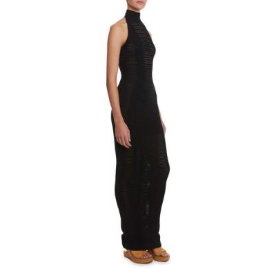 バルマン レディース ワンピース トップス Long Transparent-Striped Bodycon Halter Dress