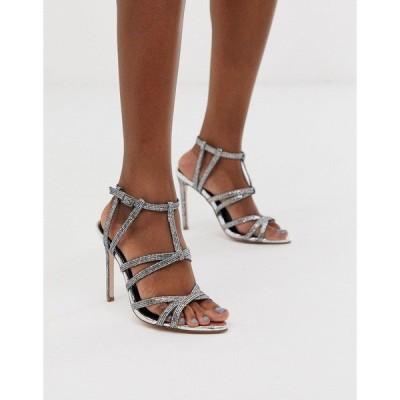 エイソス レディース サンダル シューズ ASOS DESIGN High Maintenance strappy pointed heeled sandals in silver Silver glitter
