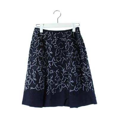 【中古】アナイ ANAYI 16年 スカート フレア 膝丈 花柄 リネン混 紺 36 /DK9 レディース 【ベクトル 古着】