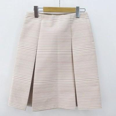 【中古】マークジェイコブス MARC JACOBS 膝丈 台形 プリーツ スカート 00 ピンク系 ボーダー  綿 コットン 裏地