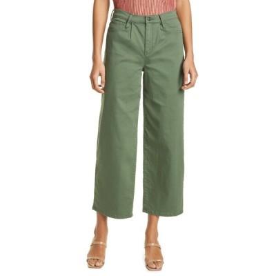 ニコルミラー レディース デニムパンツ ボトムス Wide Leg Crop Jeans OLIVE