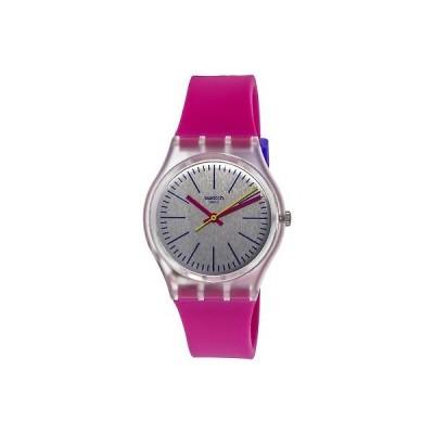 腕時計 スウォッチ Swatch Women's Fluo Pinky GE256 Clear Silicone Swiss Quartz Fashion Watch