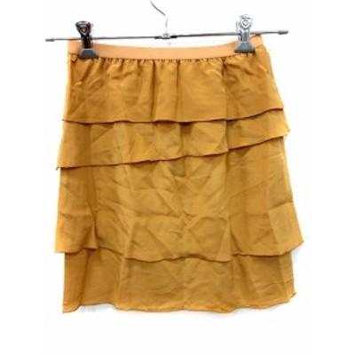 【中古】ルカ LUCA スカート フレア ミニ ティアード 絹 シルク 36 黄色 イエロー /AU レディース