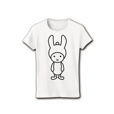 ニット帽子うさぎ リブクルーネックTシャツ(ホワイト)