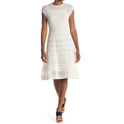 エム ミッソーニ レディース ワンピース トップス Tonal Print Cap Sleeve Dress BIANCO
