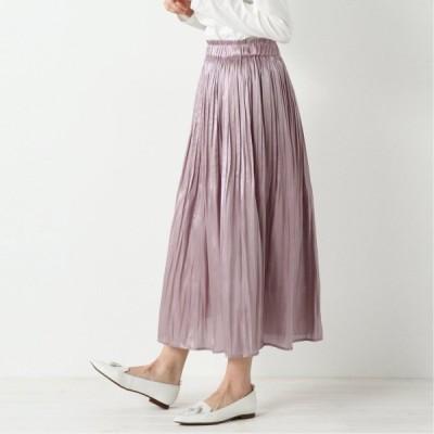 光沢で華やかな印象◎シャイニーサテン消しプリーツロングスカート ピンク M L LL