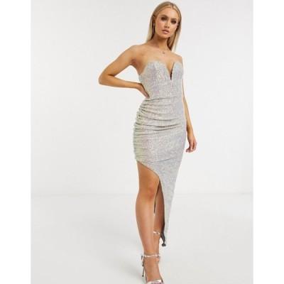 クラブエル ロンドン レディース ワンピース トップス Club L London sequin plunge front bandeau asymmetric split dress in cream